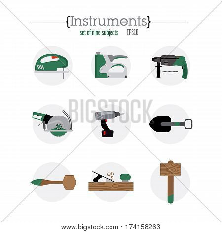 Nine different tool icons. Contain hammer, a saw, a hammer, a shovel. Tools are located on the light gray circles.