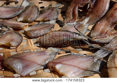 Dried fish in the threshing basket. for food