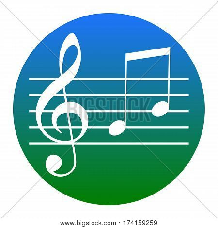 Music violin clef sign. G-clef and notes G, H. Vector. White icon in bluish circle on white background. Isolated.
