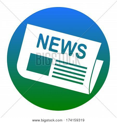 Newspaper sign. Vector. White icon in bluish circle on white background. Isolated.