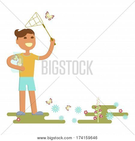 Illustration of child on a flower meadow - boy is catching butterflies with a net. Flat design of season. Vector illustration eps