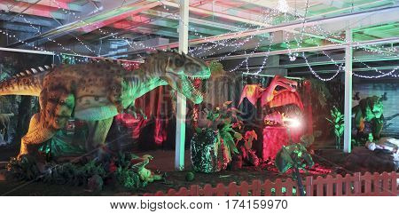 TUCSON, ARIZONA, FEBRUARY 20. The Tucson Expo Center on February 20, 2017, in Tucson, Arizona. An Entrance Hall at T-Rex Planet at the Tucson Expo Center in Tucson, Arizona.
