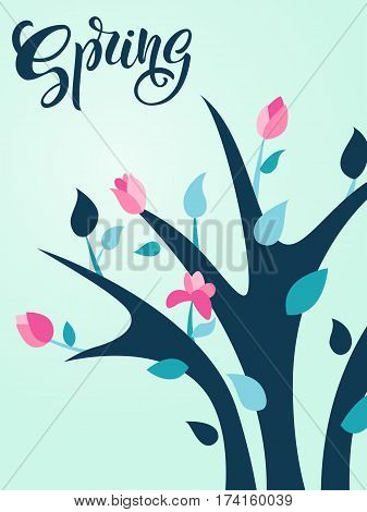 Spring illustration with bright flowering shrub. Spring bush. Handwritten Spring. Modern lettering. Vector illustration.