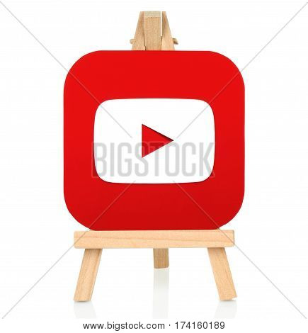 Kiev Ukraine - August 30 2016: Youtube icon printed on paper and placed on wooden easel. YouTube is a video-sharing website