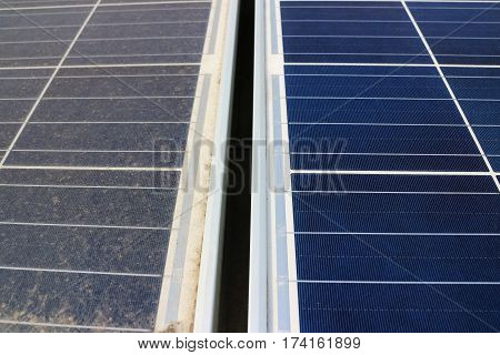 Dirty versus Clean Photovoltaic Solar PV Panels
