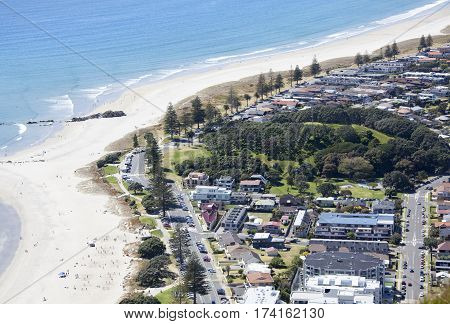 The aerial view of Mount Drury Reserve and the beach of Mount Maunganui resort town (Tauranga).