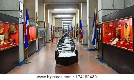 Santo Domingo, Dominican Republic - January 30, 2016: Pirogue Tainos, Museum Inside The Lighthouse O
