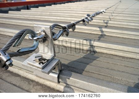 Steel Wire Rope Safety Lifeline on Metal Sheet Roof