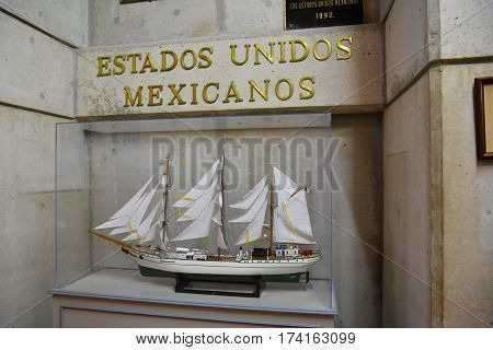 Santo Domingo, Dominican Republic - January 30, 2016: Mexican Stand. Museum Inside The Lighthouse Of