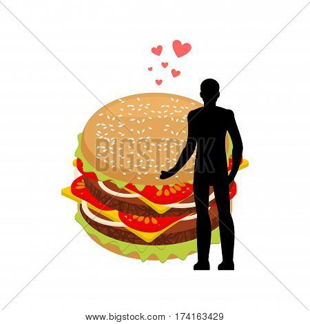 Lover Fast Food. Man And Hamburger Embrace. Guy And Burger. Lovers Romantic Date Fastfood. Glutton L