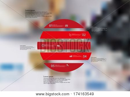 Illustration infographic template with motif of circle horizontally divided to five red standalone sections. Blurred photo with financial motif with charts coins and calculator is used as background.