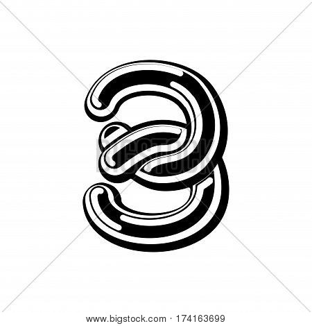 Number 3 Celtic Font. Norse Medieval Ornament Abc Sign Three. Traditional Ancient Manuscripts Alphab