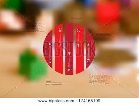 Illustration infographic template with motif of circle vertically divided to five red standalone sections. Blurred photo with financial motif with coins and money is used as background.