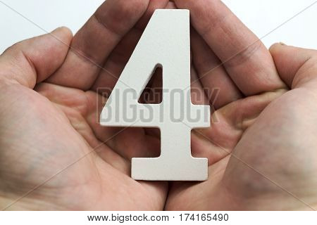 Hands holding a figure four on a white background.