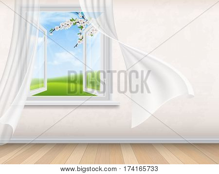 Empty room interior with open window. View through window on spring rural landscape with blooming tree branches on foreground. Wind waves white, transparent curtains.