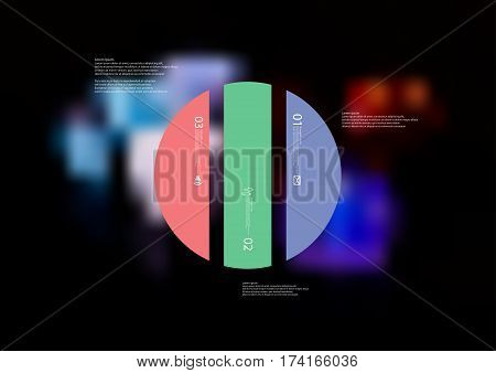 Illustration infographic template with motif of circle vertically divided to three color standalone sections. Blurred photo with colorful game dices motif is used as background.