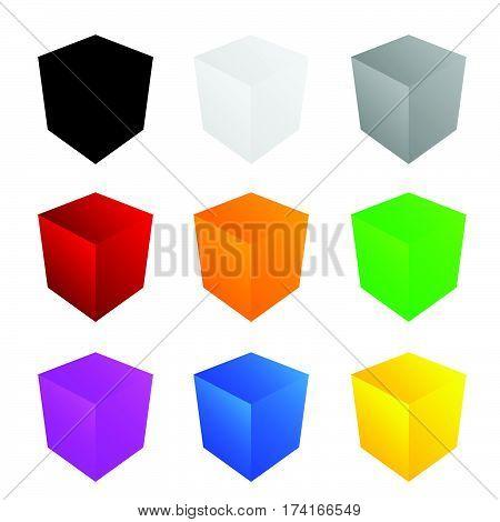 Cube In Color Set Art Illustration