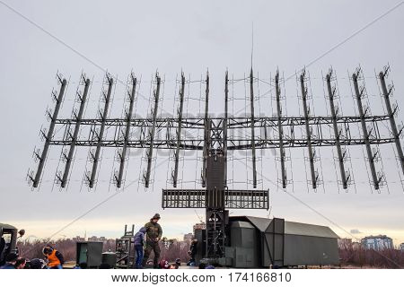 Military Radar Antenna. A Grid Of Small Antennas Collected Large.