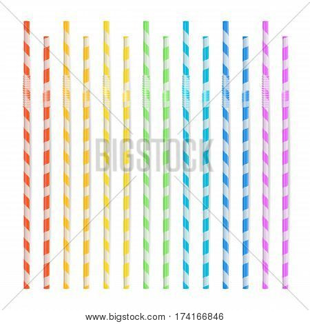 Colorful Drinking Straws Set. 3D Striped Icon Isolated In White Background. Vector