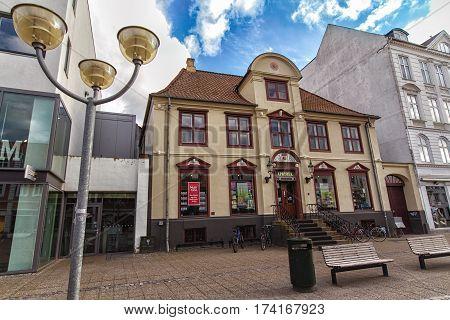 HORSENS DENMARK - JUNE 11: The building of the old pharmacy in the centre of Horsens Denmark in 2012