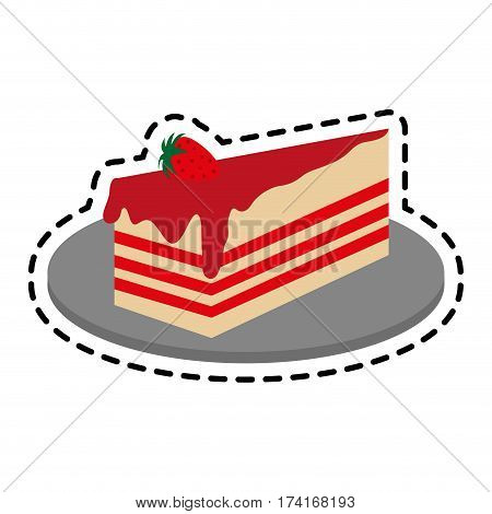 strawberry cake pastry icon image pastry icon image vector illustration design