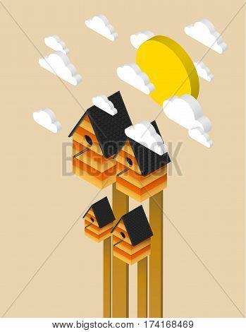 Nesting box isometric illustration, vector background, eps10
