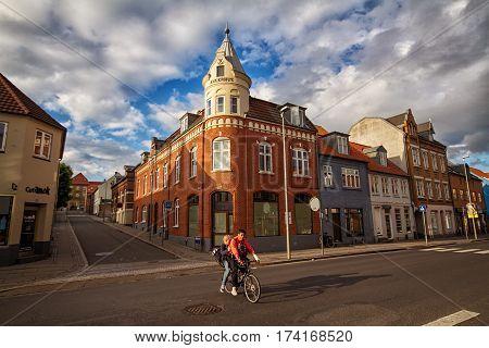 HORSENS DENMARK - JUNE 11: Typical old city houses in the centre of Horsens Denmark in 2012