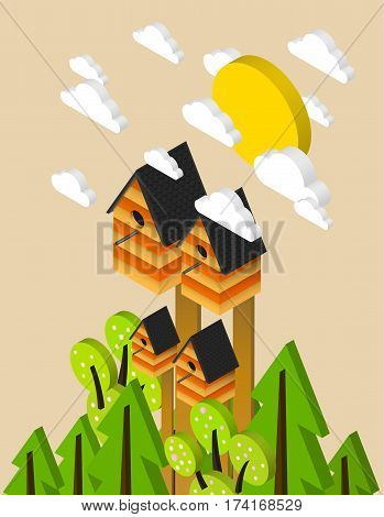 Nesting box isometric illustration fresh spring poster