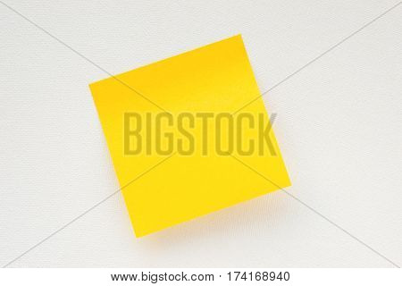 Yellow sticky note on white canvas background. Memo template