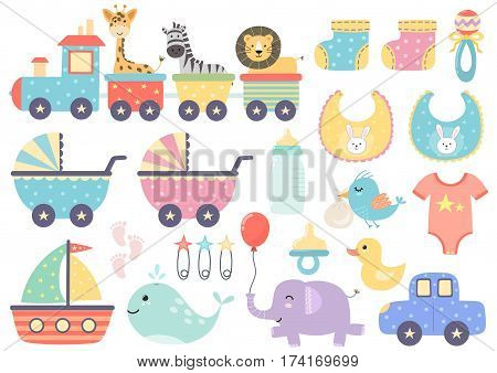 Vector set of cute baby elements. Great for baby shower and kids design. Train with animals, pram, boat, car, duck, bottle, nipple, socks and other