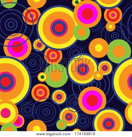 Abstract Background With Bright Psychedelic Concentric Circles