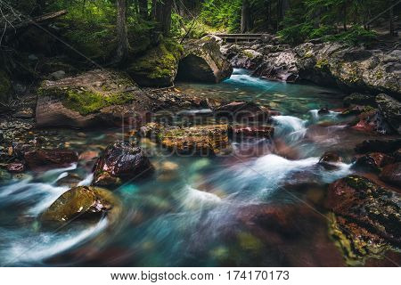 Avalanche Creek waterfall. Glacier National Park, Montana, USA