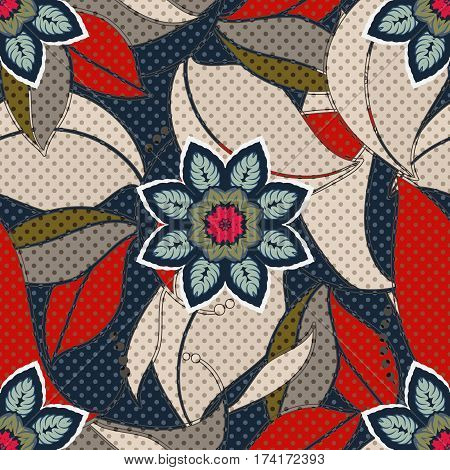Colorful floral decorative pattern. Seamless flowers background