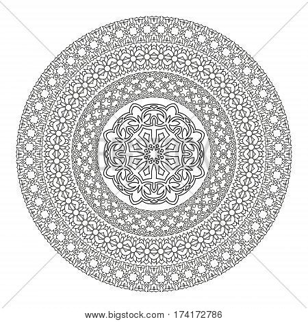 Flower Mandala For Coloring Book. Black And White Ethnic Henna Pattern.vintage Decorative Elements.i