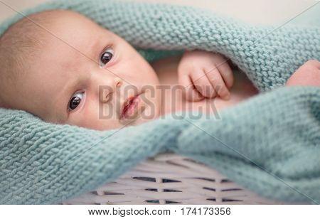 closeup portrait of сute, lovely newborn baby
