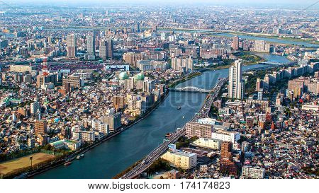 aerial cityscape of Tokyo the capital of Japan