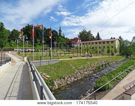 Baerenstein, Germany - July 11, 2015: Bridge over the stream, which is the border between the German town of Bärenstein and the Czech town Vejprty.