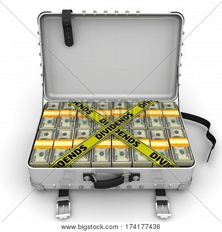Dividends. Suitcase full of money. A suitcase filled with packs of American dollars and yellow tapes with text