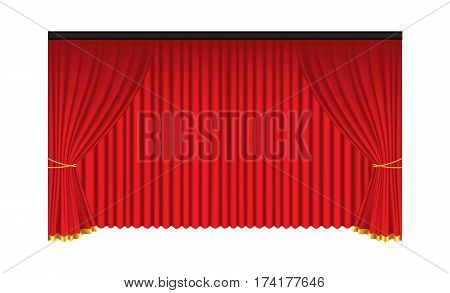 Red luxury curtains and draperies on white background realistic vector illustration