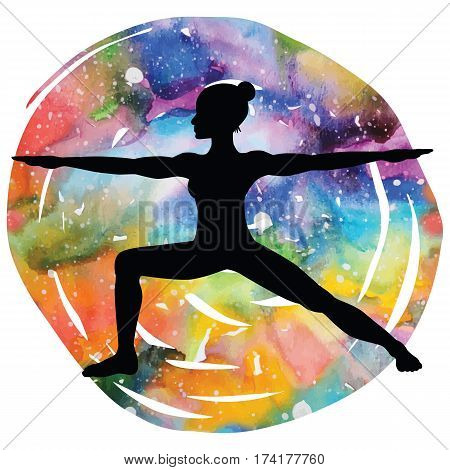Women silhouette on galaxy astral background. Warrior 2 yoga pose. Virabhadrasana 2. Vector illustration.