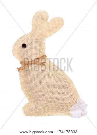 Rustic Handmade Burlap Easter Bunny Isolated On A White Background