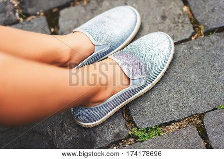 Fashion girl's silver grey skate shoes .