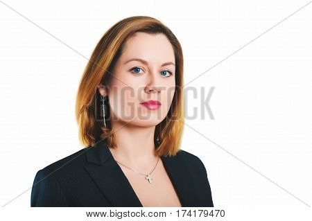 Business portrait of 35 year old woman in formalwear