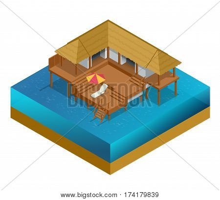 Isometric bungalow. Summer house. Wooden villa suite. Romantic cozy bungalow or small apartments building for rent or living. Timber cottage vector illustration.