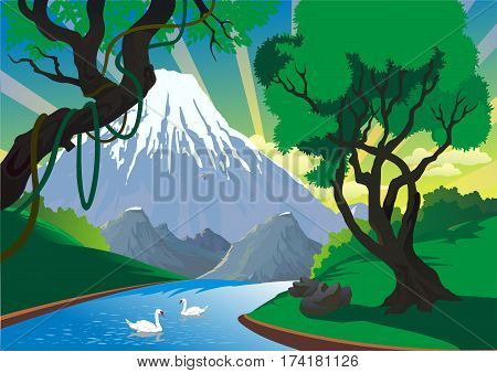 Landscape - mountain river. Swans on the river. River in the forest. Mountains. Vector illustration
