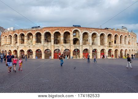 Italy, Verona - 26 May, 2015: City arena in the historic center of Verona. The main tourist attraction.