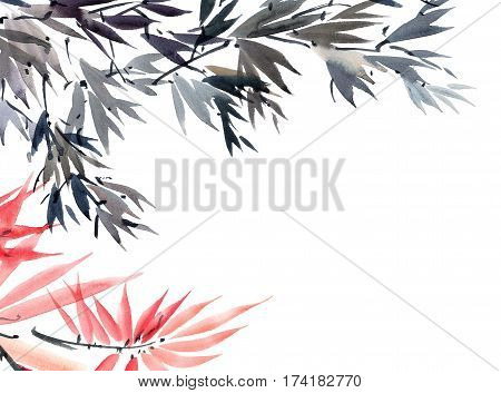 Watercolor and ink illustration of tree foliage in style sumi-e u-sin. Oriental traditional painting. Background for decorative card.