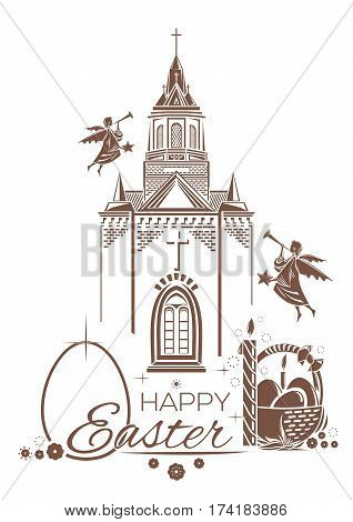 Catholic Church, burning candle, basket of Easter eggs, angels blow trumpets. Greeting card. Happy Easter. Design elements for Easter holiday. Vector illustration
