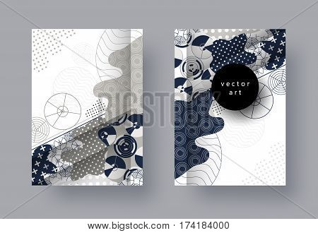 Set, templates A4 pages. Abstract geometric background with 3D element. Monochrome collage. Trendy compositions for business, technology, web, advertising. Modern style design. Vector illustration