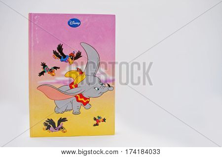 Hai, Ukraine - February 28, 2017: Animated Disney Movies Cartoon Production Book Dumbo On White Back